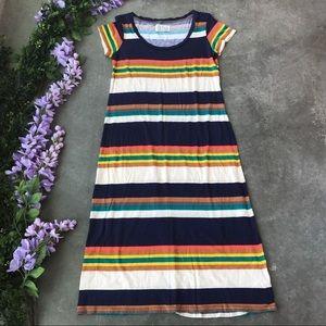Antro Saturday and Sunday Striped Midi Shirt Dress